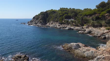 espana : Picturesque panorama of the coast in Lloret de Mar in sunny day. Costa Brava, Catalonia, Spain
