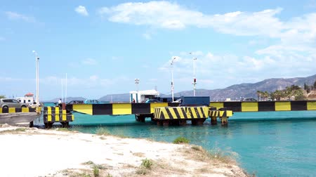 saronic : Motor traffic between Corinth and Loutraki via the Corinthian Submersible bridge, Greece Stock Footage