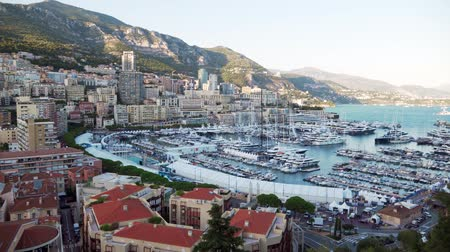 picturesque quarters : Scenic panorama of Monaco in the evening. A beautiful view of the Mediterranean Sea.