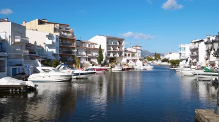 espana : It is a beautiful landscape of the Mediterranean Sea. Motor boats moored in the city of Empuriabrava, Spain