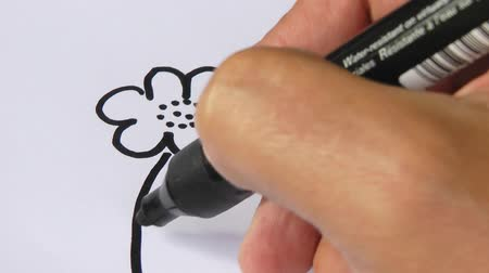çizim : Hand drawing flower and smiling sun on white paper - Video Stok Video