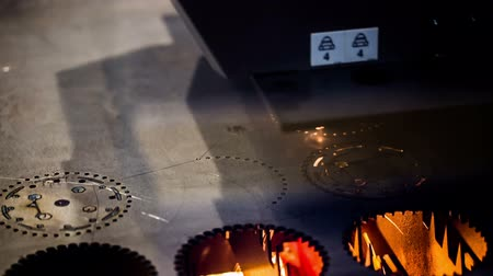 iron metal : CNC Laser cutting of metal modern industrial technology. Small depth of field. Stock Footage