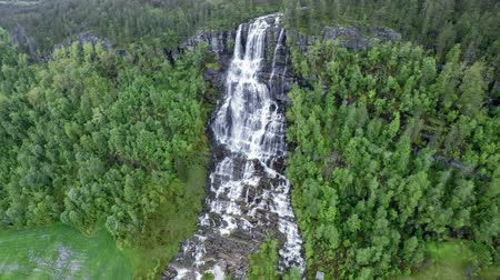 tvindefossen : Aerial footage from Tvindefossen waterfall from the birds-eye view, Norway