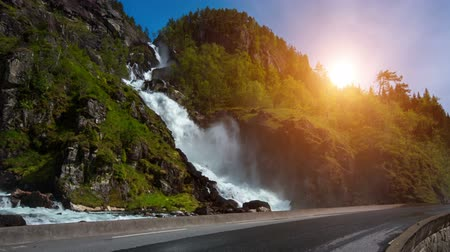 norvégia : Latefossen Waterfall Odda Norway. Latefoss is a powerful, twin waterfall.