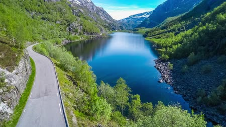norvégia : Aerial footage Beautiful Nature Norway. Flying over the lakes and fjords.View from the birds-eye view.