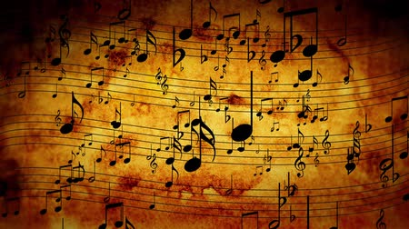 showbiz : Animated background with musical notes, Music notes flowing, flying stream Stock Footage