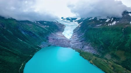 northen : Svartisen Glacier in Norway Aerial view. Svartisen is a collective term for two glaciers located in northern Norway. Water from the glacier is collected and used for hydropower production.
