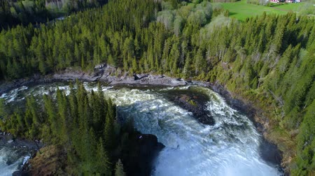 jamtland : Ristafallet waterfall in the western part of Jamtland is listed as one of the most beautiful waterfalls in Sweden. Stock Footage