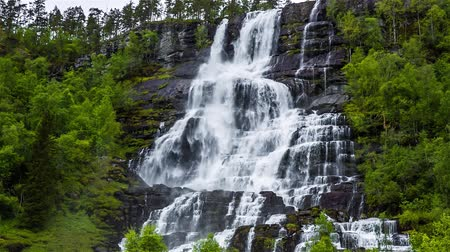 tvindefossen : Tvindefossen waterfall. Beautiful Nature Norway natural landscape. Stock Footage