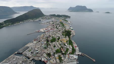 art noveau : Aksla at the city of Alesund, Norway Aerial footage. It is a sea port, and is noted for its concentration of Art Nouveau architecture.