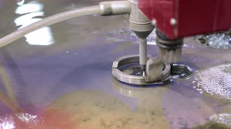 automated : CNC water jet cutting machine modern industrial technology. Stock Footage