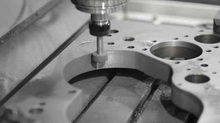 Metalworking CNC milling machine. Cutting metal modern processing technology. Dostupné videozáznamy