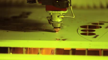 гравюра : CNC Laser cutting of metal, modern industrial technology.