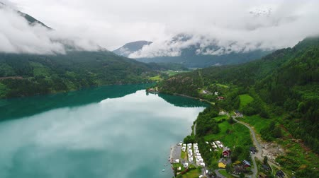 geiranger : Beautiful Nature Norway natural landscape. Aerial footage lovatnet lake.