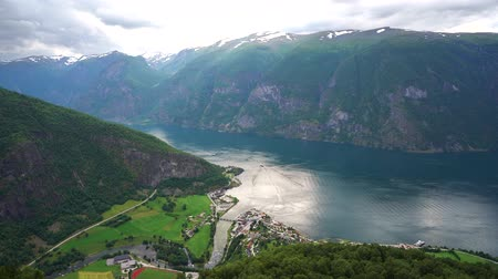 fiorde : Stegastein Lookout Beautiful Nature Norway. Sognefjord or Sognefjorden, Norway Flam Stock Footage