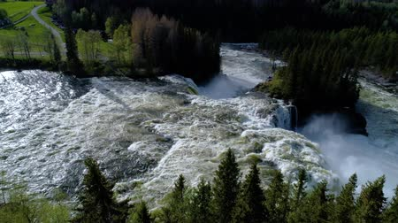 rapids : Ristafallet waterfall in the western part of Jamtland is listed as one of the most beautiful waterfalls in Sweden. Stock Footage