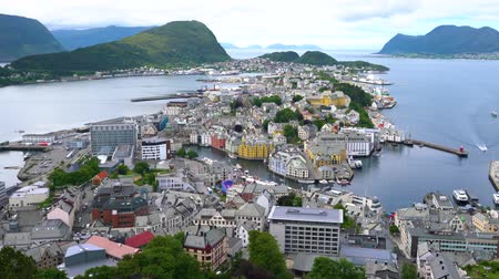 Aksla at the city of Alesund, Norway. It is a sea port, and is noted for its concentration of Art Nouveau architecture.