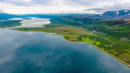 commercial cultivation : Aerial footage Farm salmon fishing in Norway