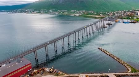 north bay : Aerial footage from Bridge of city Tromso, Norway aerial photography. Tromso is considered the northernmost city in the world with a population above 50,000.