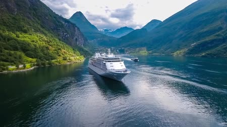 geiranger : Cruise Ship, Cruise Liners On Geiranger fjord, Norway. It is a 15-kilometer (9.3 mi) long branch off of the Sunnylvsfjorden, which is a branch off of the Storfjorden (Great Fjord).