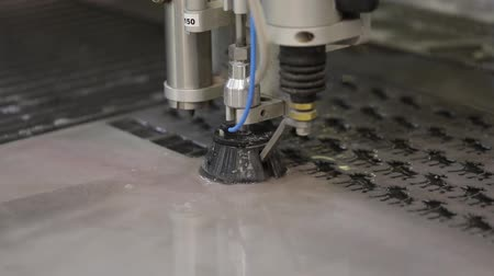 penetrating : CNC water jet cutting machine modern industrial technology. Stock Footage