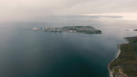 refining : Hammerfest Island Muolkkut Northern Norway, gas processing plant. Stock Footage
