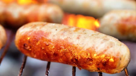 kükreme : Delicious juicy sausages, cooked on the grill with a fire Stok Video