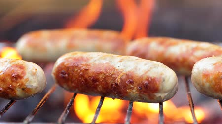 řev : Delicious juicy sausages, cooked on the grill with a fire Dostupné videozáznamy