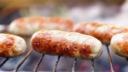 baharatlı alman sosisi : Delicious juicy sausages, cooked on the grill with a fire Stok Video