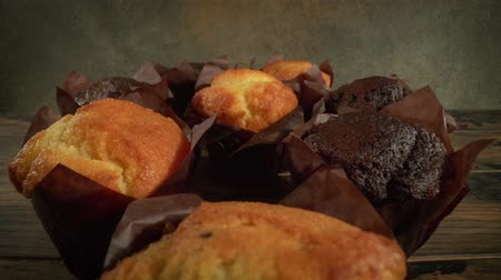 powdered : Muffin cake closeup