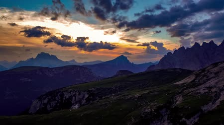 tre : National Nature Park Tre Cime In the Dolomites Alps. Beautiful nature of Italy. Aerial FPV drone flights at sunset