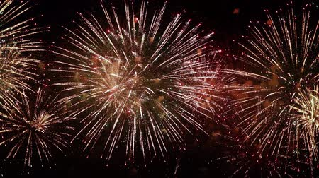 golden color : Colorful fireworks exploding in the night sky. Celebrations and events in bright colors.