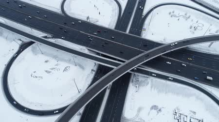 tramwaj : Aerial view of a freeway intersection Snow-covered in winter. Wideo