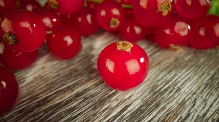 shluk : Super close macro of a redcurrants on a wooden table.