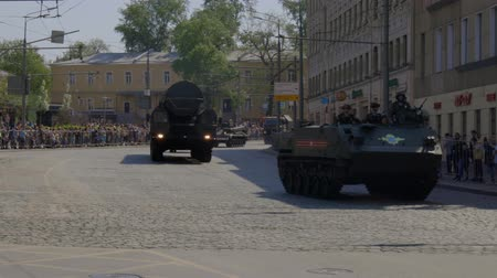 бронированный : MOSCOW, RUSSIA - MAY 07, 2019:Russian military equipment on the streets of Moscow. Preparation for the parade in honor of the victory in the second world war.