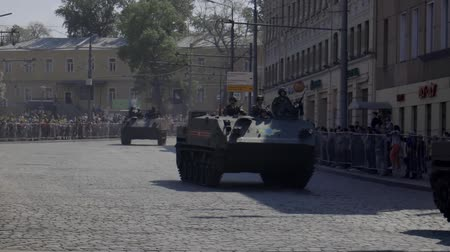 střela : MOSCOW, RUSSIA - MAY 07, 2019:Russian military equipment on the streets of Moscow. Preparation for the parade in honor of the victory in the second world war.
