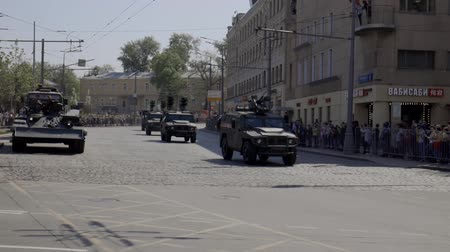 armoured : MOSCOW, RUSSIA - MAY 07, 2019:Russian military equipment on the streets of Moscow. Preparation for the parade in honor of the victory in the second world war.
