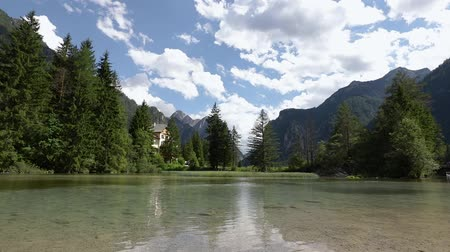 dolomite : Lake Dobbiaco in the Dolomites, Beautiful Nature Italy natural landscape Alps.