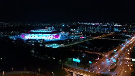 tramwaj : Night Aerial view of a freeway intersection and football stadium Spartak Moscow Otkritie Arena