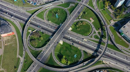 multiple lane : Aerial view of a freeway intersection traffic trails in Moscow.
