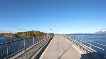 realtime : Driving a Car on a Road in Norway Lofoten Reine