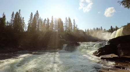 rapids : Slow motion video Ristafallet waterfall in the western part of Jamtland is listed as one of the most beautiful waterfalls in Sweden.
