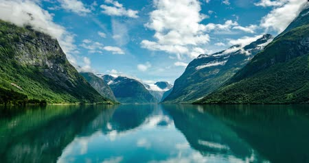 geiranger : Timelapse Beautiful Nature Norway natural landscape lovatnet lake Lodal valley.