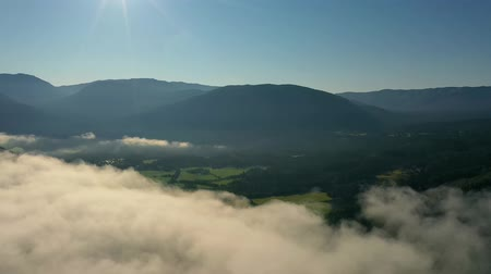 fresh air : Aerial footage Beautiful Nature Norway over the clouds.