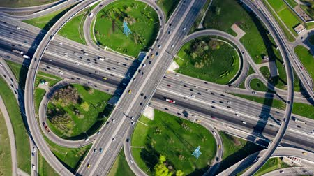multiple lane : Timelapse Aerial view of a freeway intersection traffic trails in Moscow.