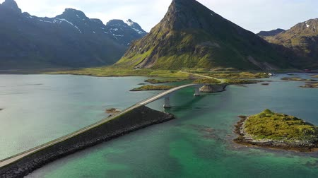 Fredvang Bridges Lofoten islands is an archipelago in the county of Nordland, Norway. Is known for a distinctive scenery with dramatic mountains and peaks, open sea and sheltered bays.