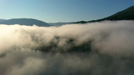 geiranger : Aerial footage Beautiful Nature Norway over the clouds.