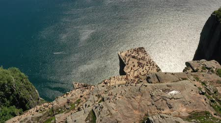 pulpit rock : Aerial footage Preikestolen or Prekestolen, also known by the English translations of Preachers Pulpit or Pulpit Rock, is a famous tourist attraction in Forsand, Ryfylke, Norway Stock Footage
