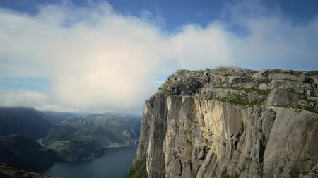pulpit rock : Timelapse footage Preikestolen or Prekestolen, also known by the English translations of Preachers Pulpit or Pulpit Rock, is a famous tourist attraction in Forsand, Ryfylke, Norway