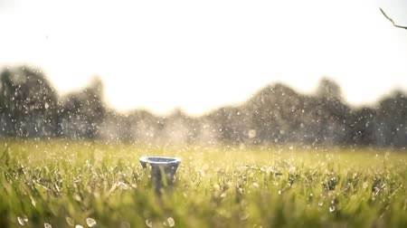 golfjátékos : Golf club hits a golf ball in a super slow motion. Drops of morning dew and grass particles rise into the air after the impact.